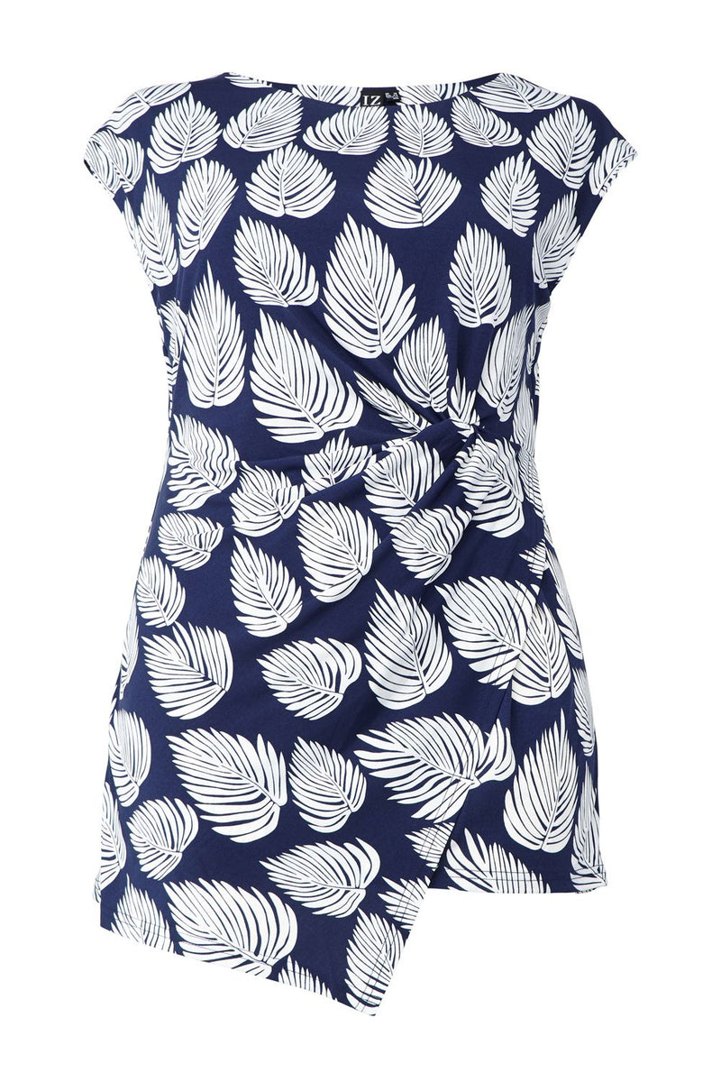| Curve Leaf Print Pleated Side Top | Izabel London