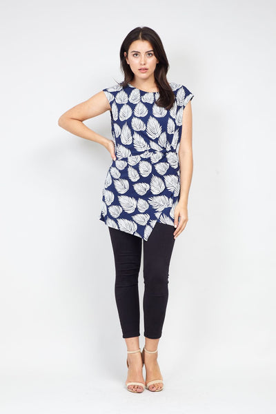 Curve Leaf Print Pleated Side Top - Izabel London