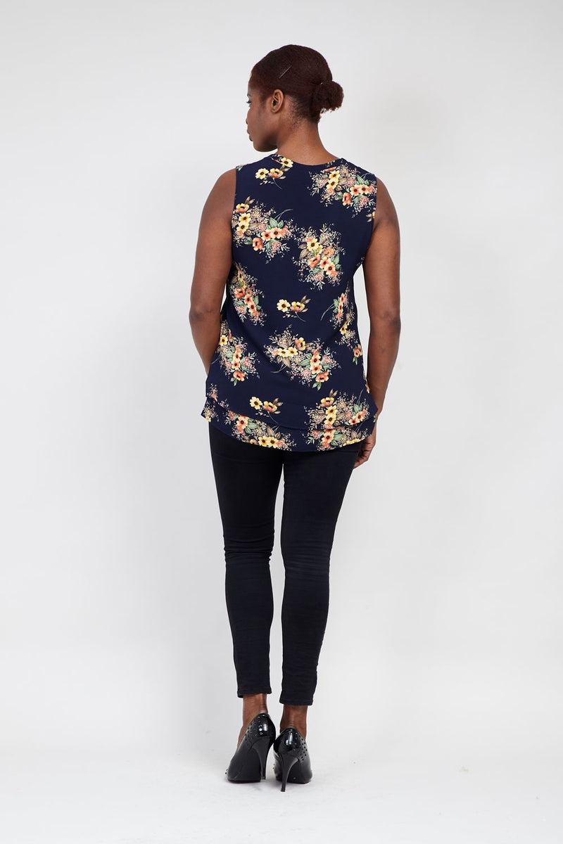 Curve Flower Tunic Top - Izabel London