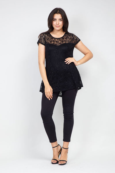 Curve Lace Overlay Peplum Top - Izabel London