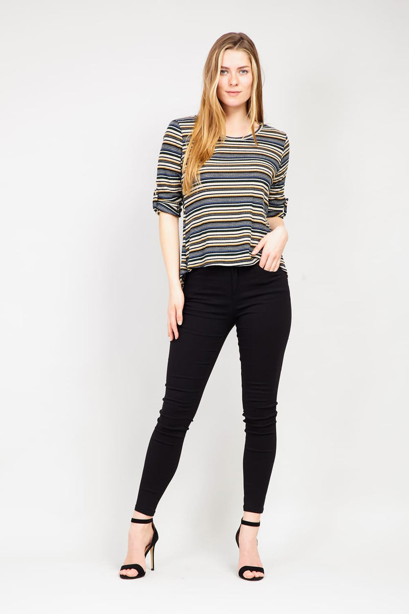 Yellow | Striped Ribbed T-Shirt