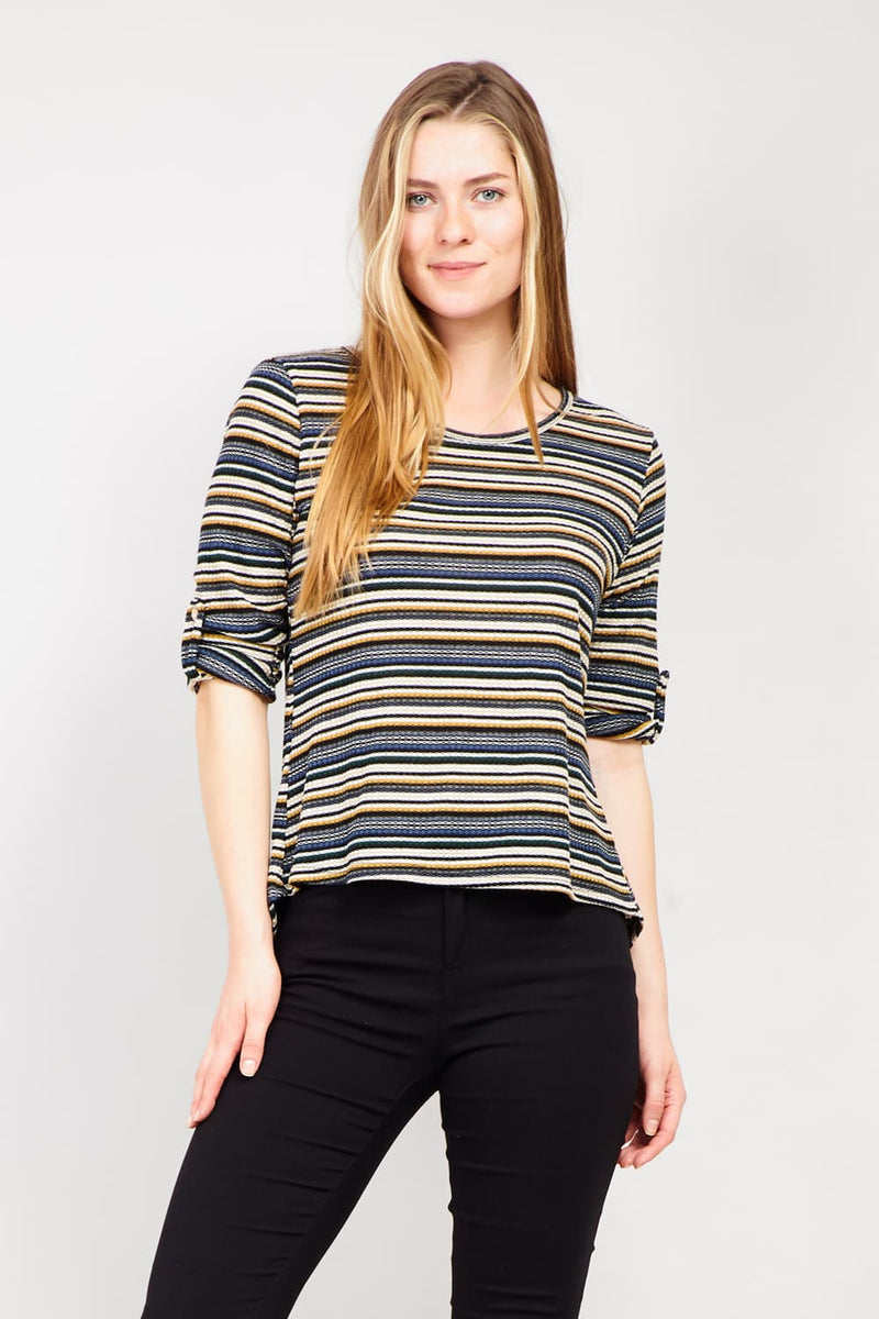 Mustard | Striped Ribbed T-Shirt