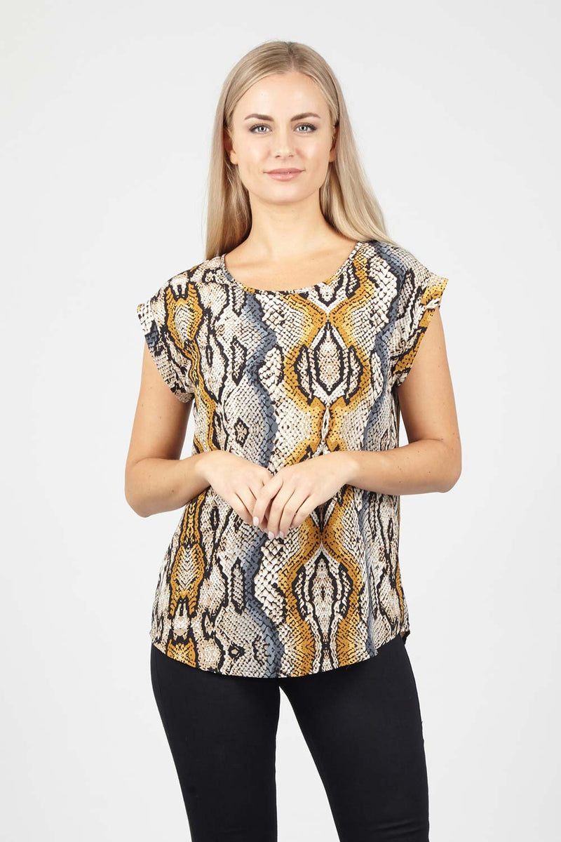 Yellow | Snake Print Boxy Top