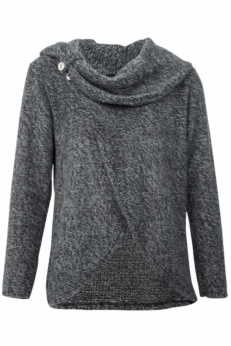 Grey | Wrap Front Roll Neck Jumper