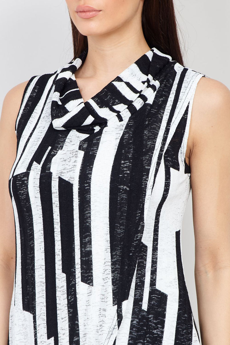 Black | Striped Wrap Front Top