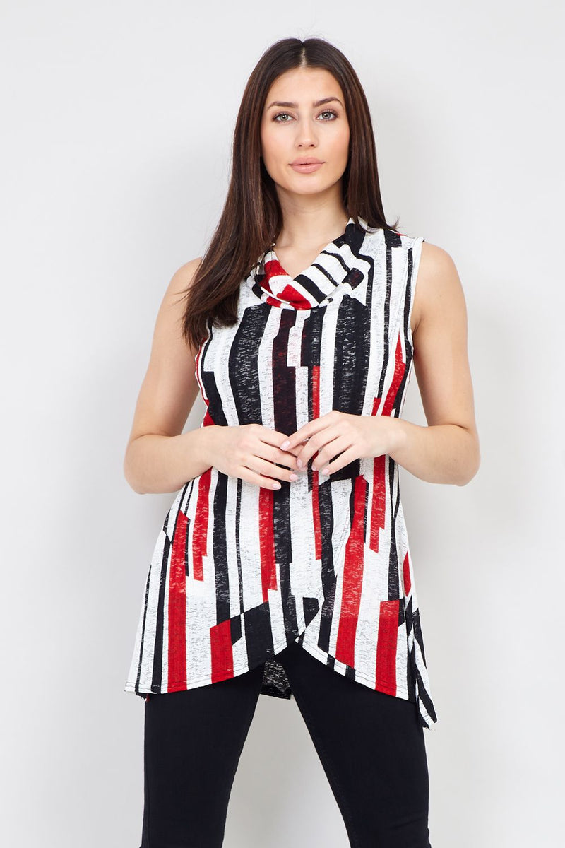 Red | Striped Wrap Front Top