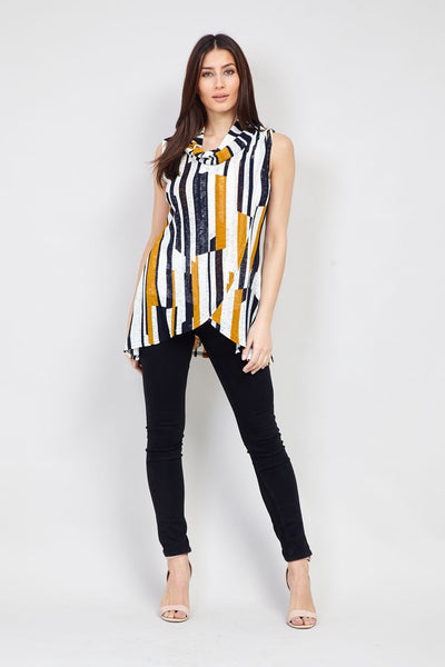 Yellow | Striped Wrap Front Top