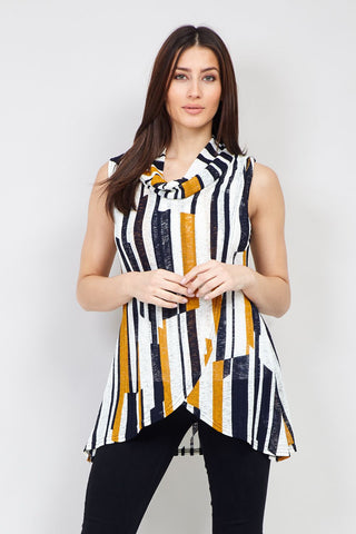 Curve Striped Asymmetric Skirt