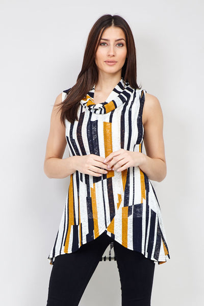 Yellow | Striped Wrap Front Top | Izabel London