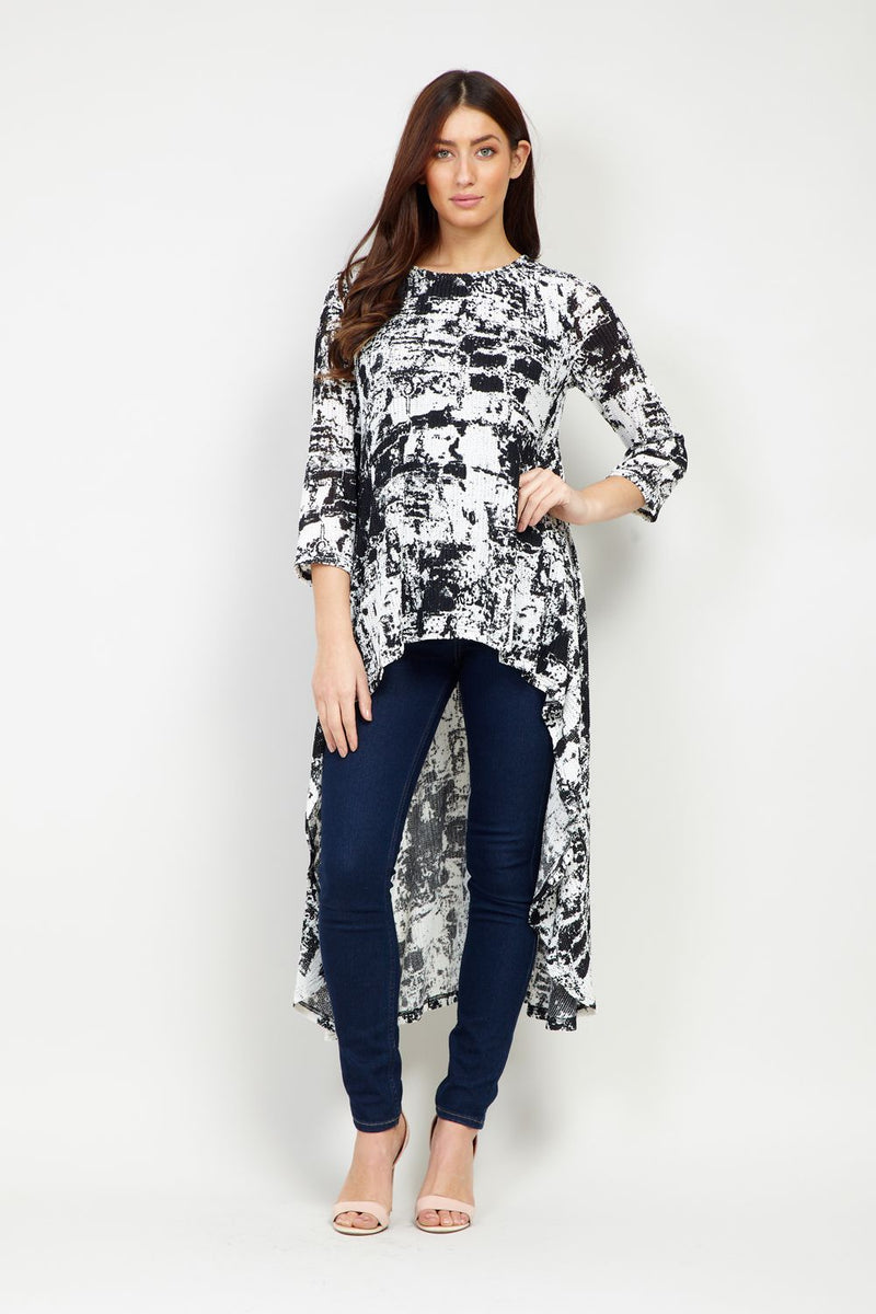 Black And White | Abstract Print High Low Top
