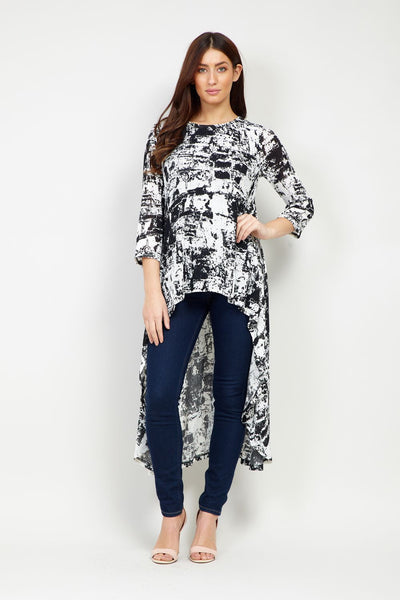 Abstract Print High Low Top - Izabel London