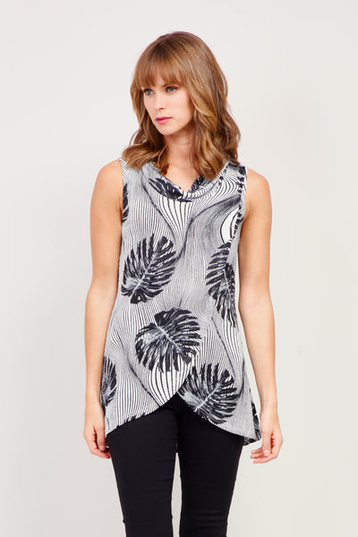 Grey | Leaf Wrap Front Top