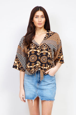 Dotty Print Off -The-Shoulder Top