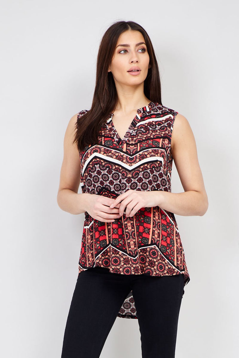 Red | Tribal Print Collarless Top