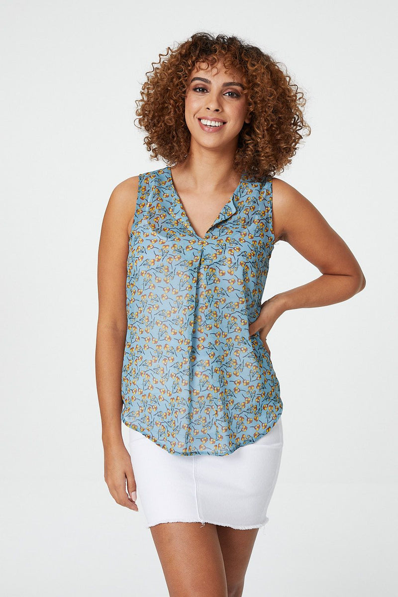 Blue | Sheer Floral Vest Top