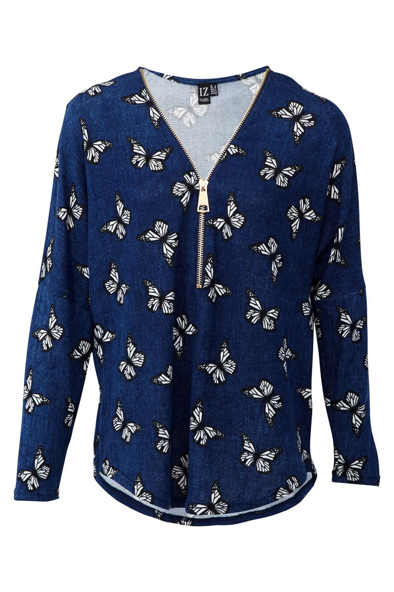 Blue | Butterfly Print Zip Front Top