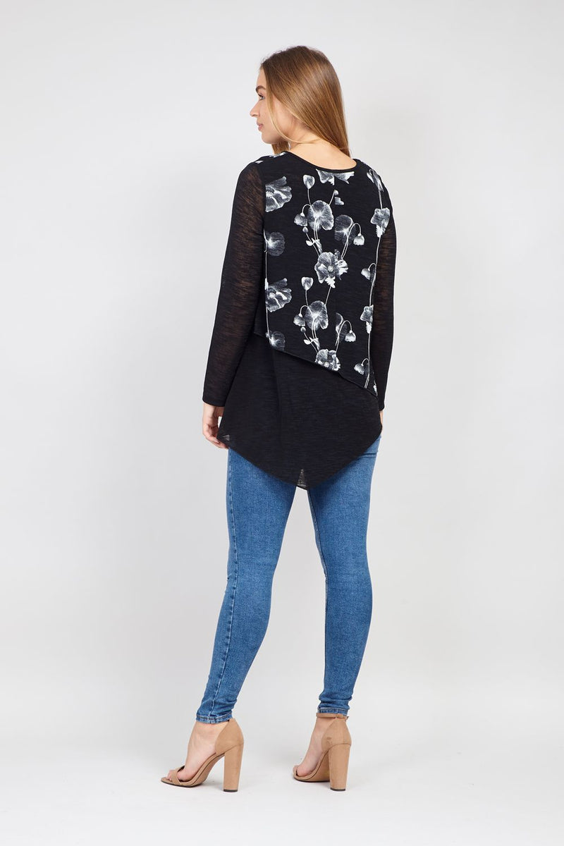 Black | Floral Asymmetric Top