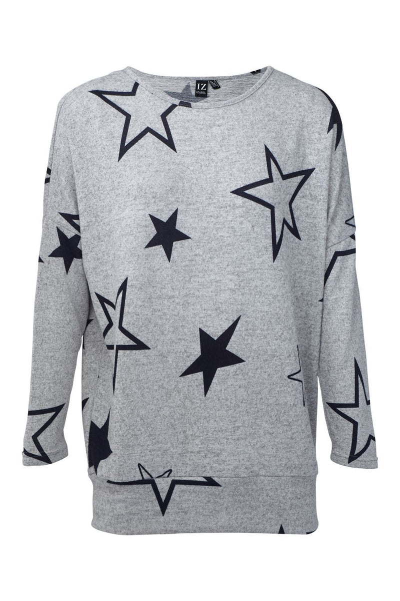 Grey | Star Print Longline Jumper