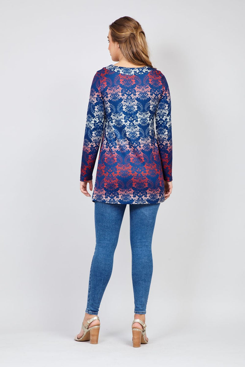 Blue | Damask Split Front Top