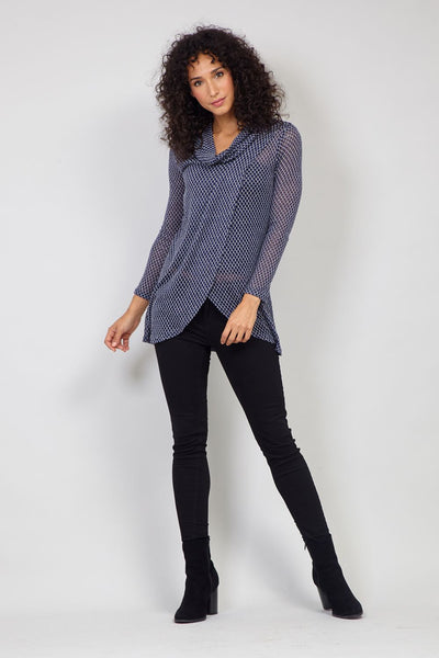 Navy | Split Front Knitted Wrap Top