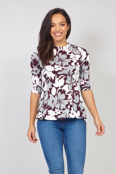Red | Floral Curve Hem Peplum Top