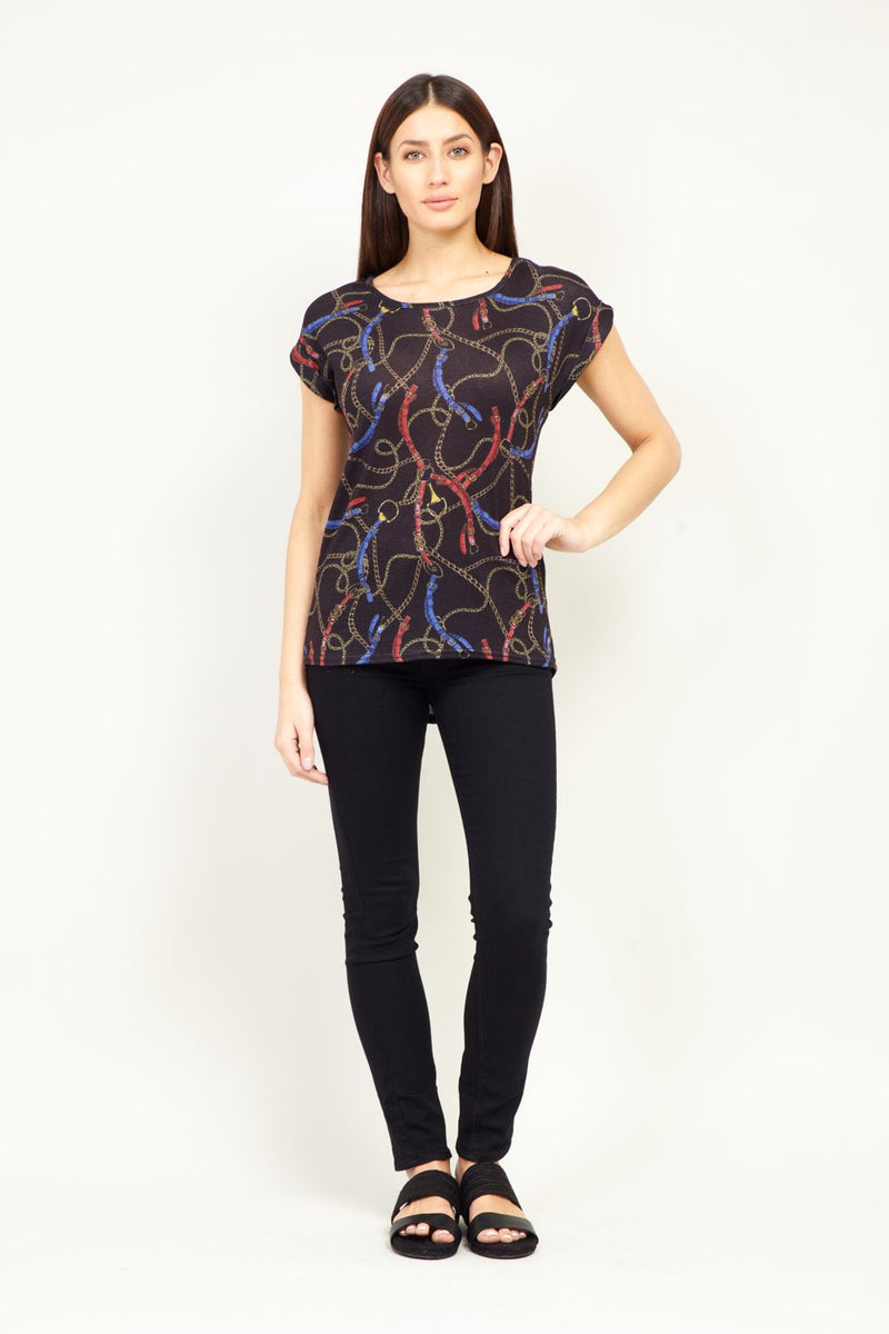 Black | Chain Print Casual T-Shirt