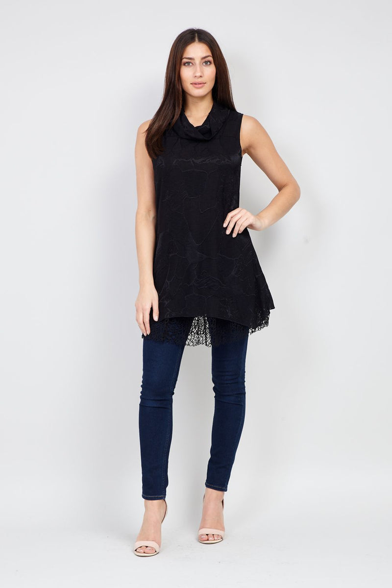 Black | Lace Layered Tunic Top