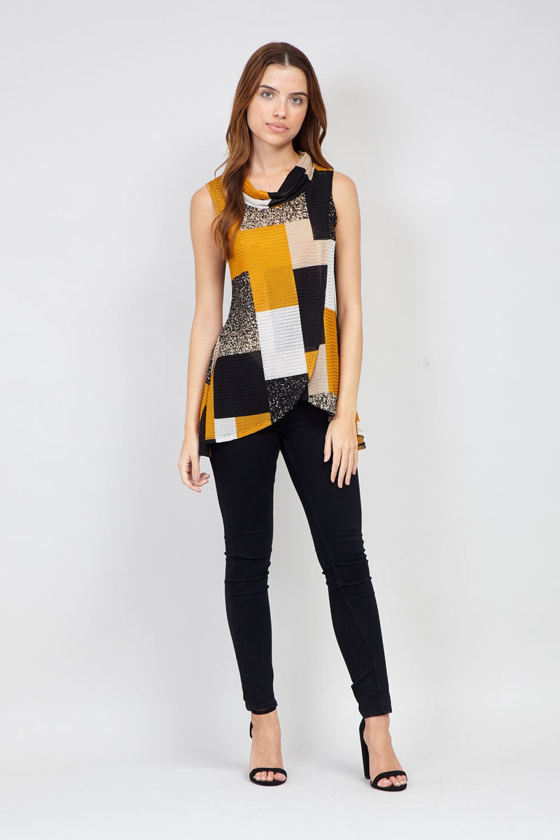 Mustard | Checked Wrap Front  Top