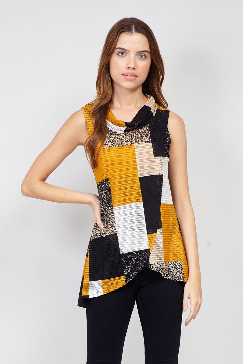 Yellow | Checked Wrap Front  Top