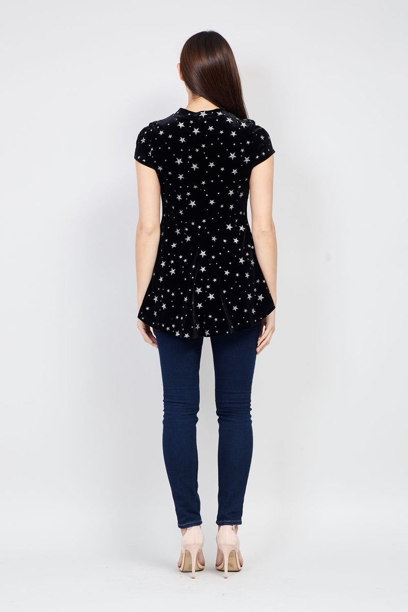 Black | Star Print Peplum Velvet Top