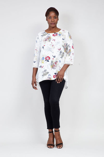 | Curve Floral Print Tunic Top | Izabel London