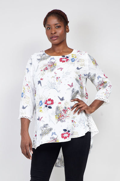 White | Curve Floral Print Tunic Top | Izabel London