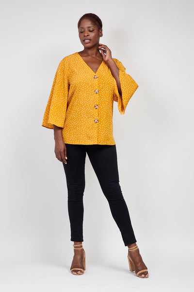 Yellow | Curve Polka Dot Button Front Blouse