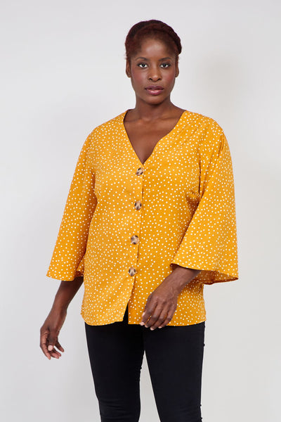 Yellow | Curve Polka Dot Button Front Blouse | Izabel London