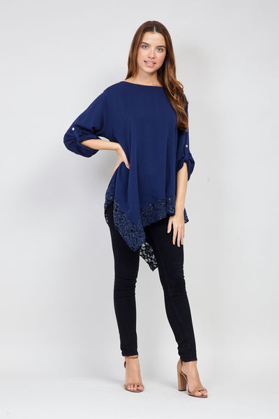 Navy | Lace Hanky Hem Top