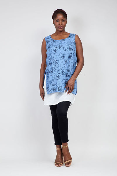 | Curve Floral  Layered Hem Tunic Top | Izabel London