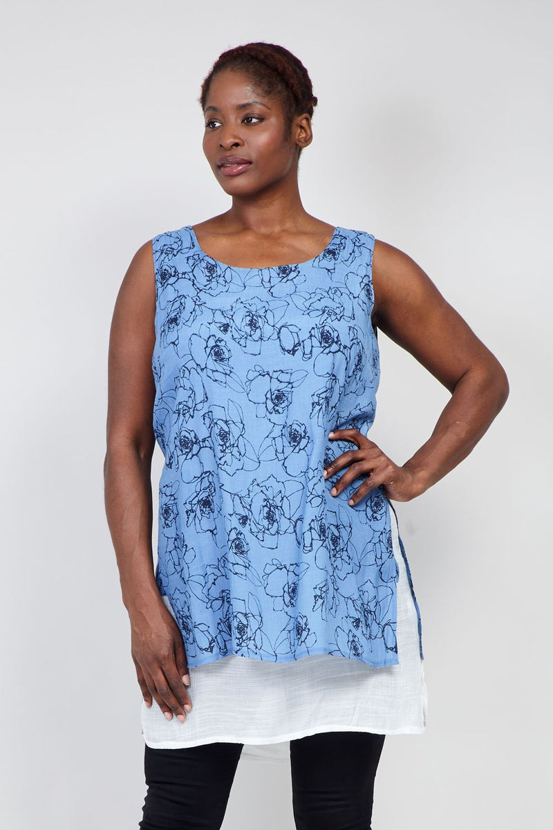 Blue | Curve Floral  Layered Hem Tunic Top