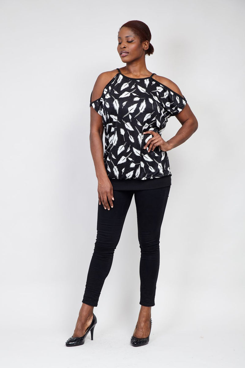 Curve Leaf Cold Shoulder Top - Izabel London