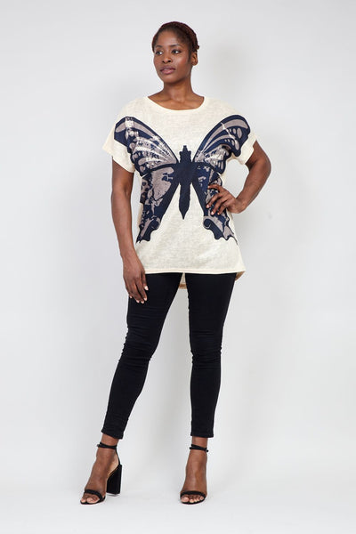 | Curve Butterfly Print T-Shirt | Izabel London