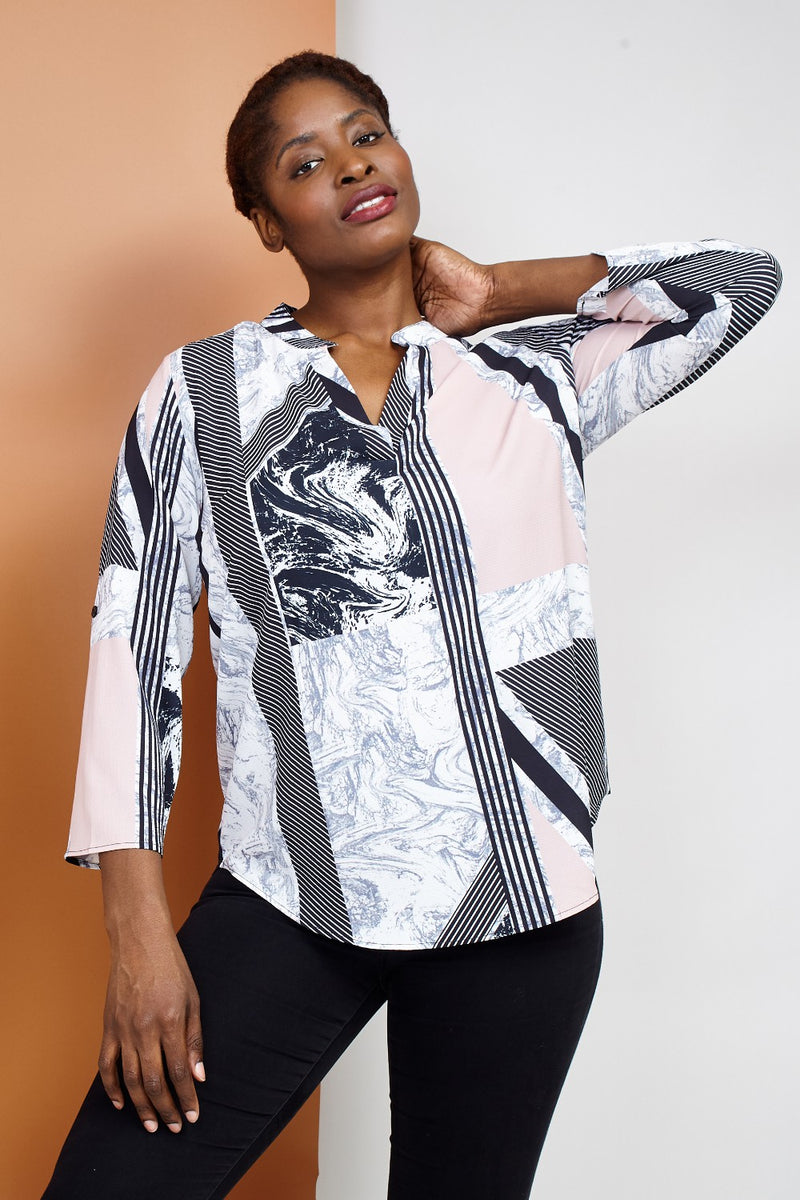 Pink | Curve Striped Marble Print Blouse