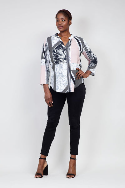 | Curve Striped Marble Print Blouse | Izabel London