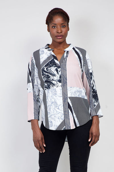 Pink | Curve Striped Marble Print Blouse | Izabel London