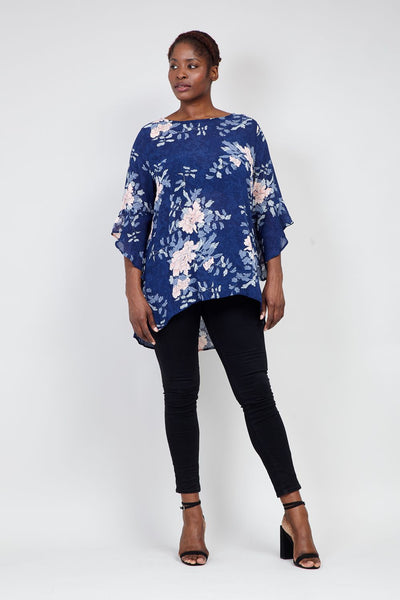 Curve Floral Flute Sleeve Blouse - Izabel London