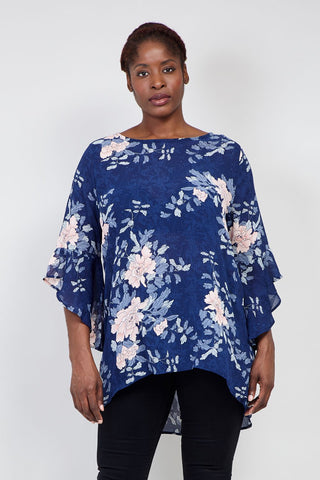 Curve Floral Roll Neck Lace Top