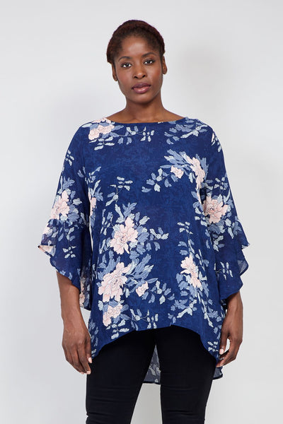 Navy | Curve Floral Flute Sleeve Blouse | Izabel London