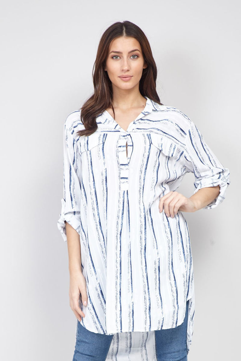 Blue | Striped Longline Shirt