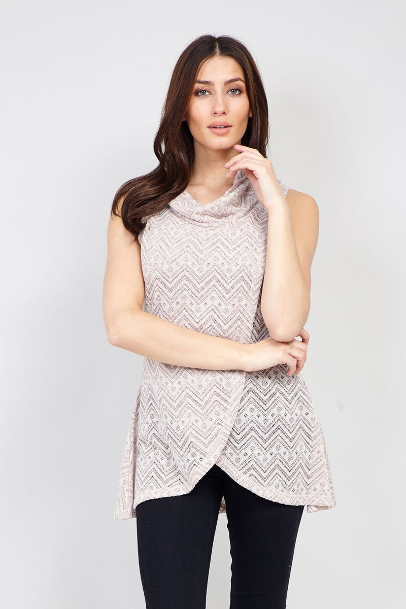 Beige | Aztec Roll Neck Top