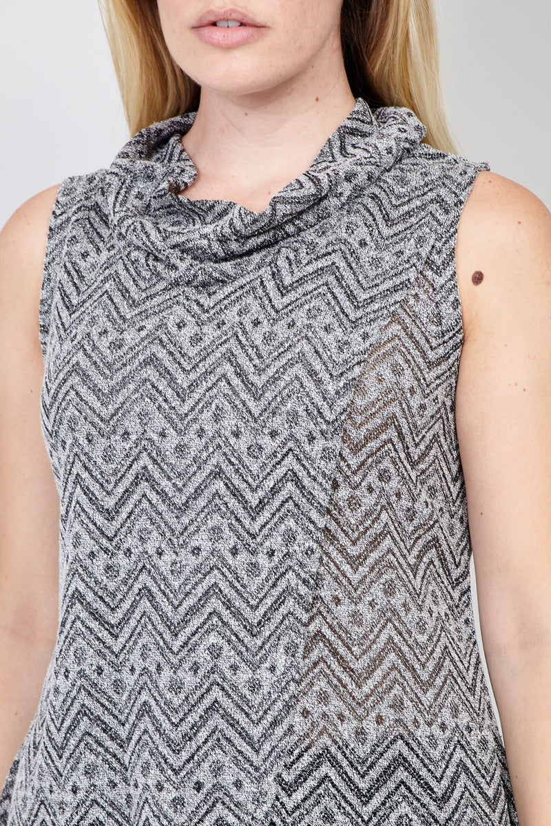 Black | Aztec Roll Neck Top