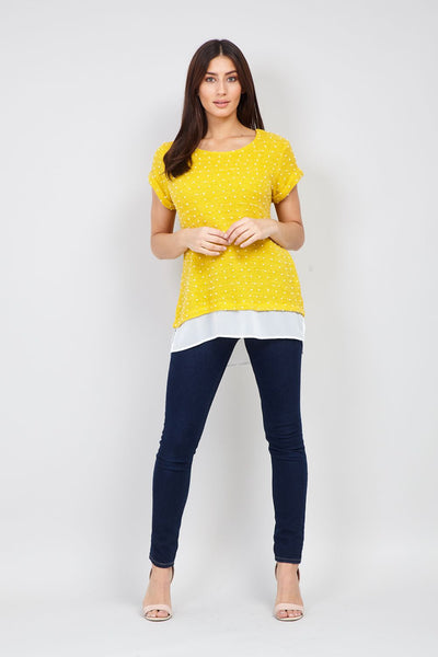 | Polka Dot Textured Top | Izabel London