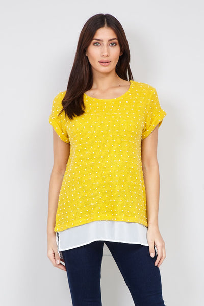 Yellow | Polka Dot Textured Top | Izabel London